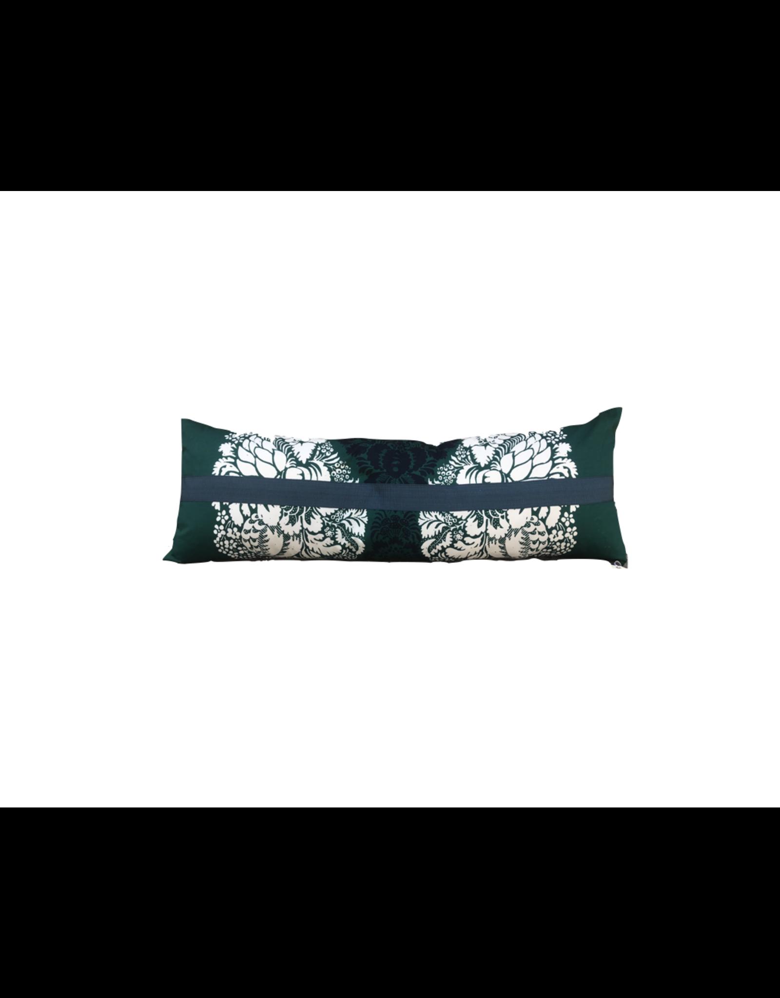 Vintage Floral Lumbar Pillow with Trim