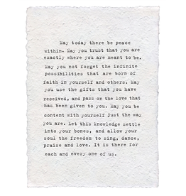 Handmade Paper Print- May Today There Be Peace Within