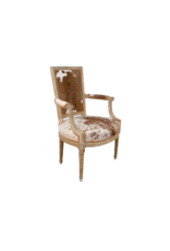 Pair of Louis XVI Style Hide Upholstered Fauteuil