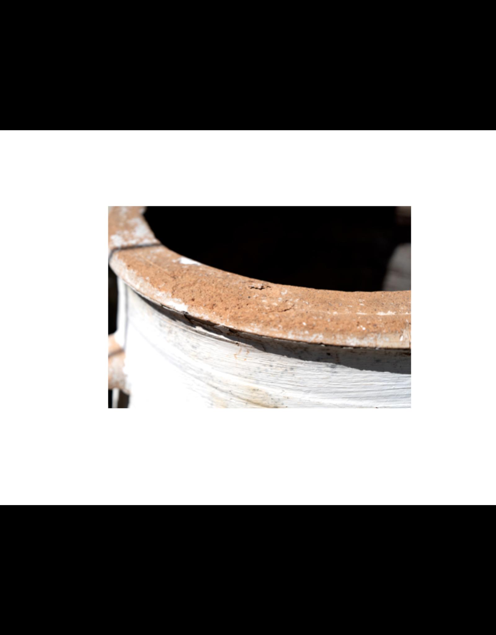 Antique Terra-Cotta Whitewashed Greek Olive Pots