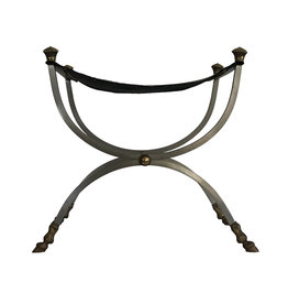 Vintage Maison Jansen Style Italian Metal and Leather Bench