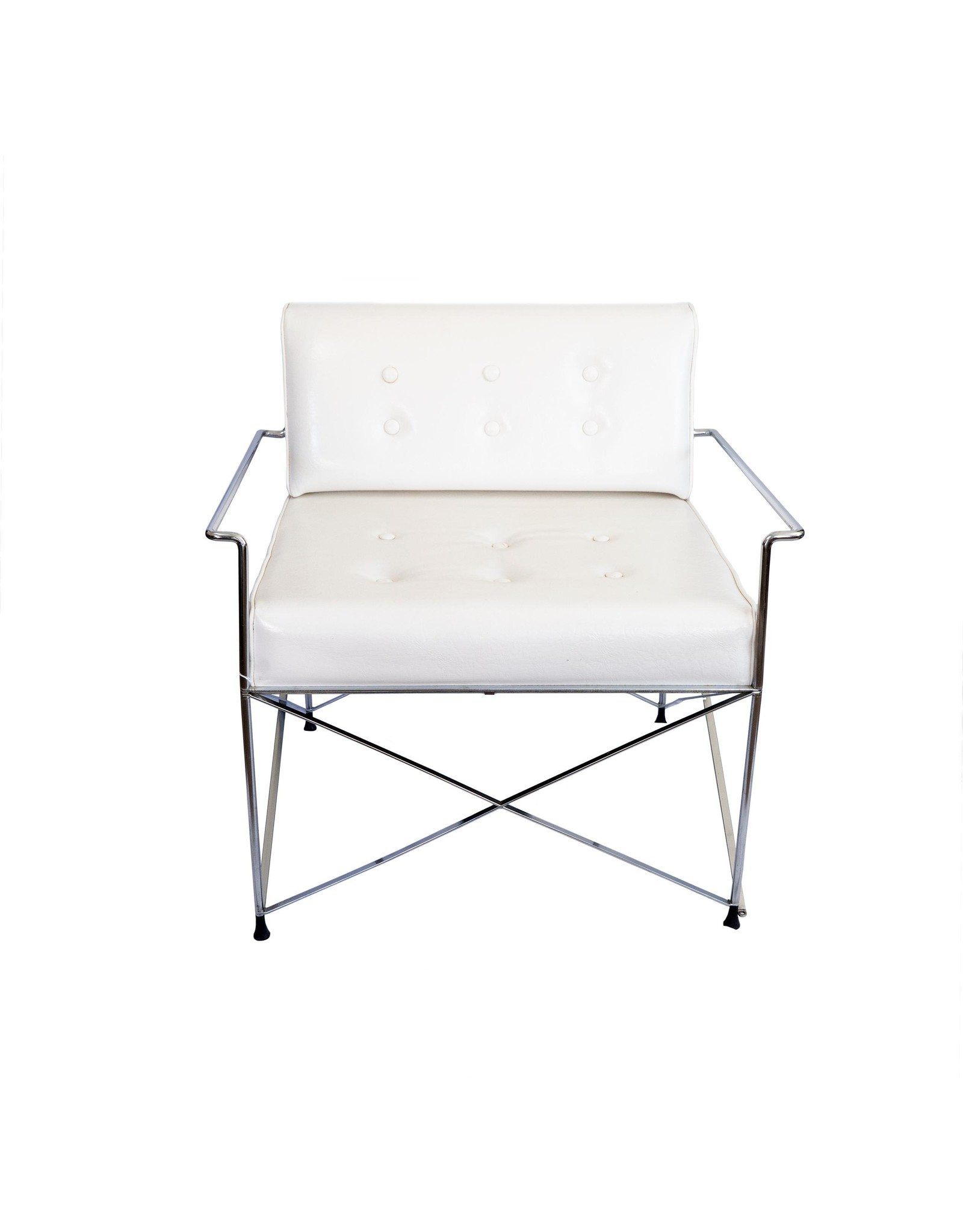 Vintage White 60's Chair and Ottoman