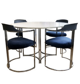 Mid-Century Modern Daystrom Dining Chairs and Table with White Melamine Top