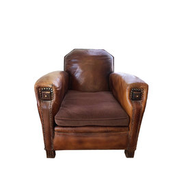 French Leather Club Lounge Chair from 1940s