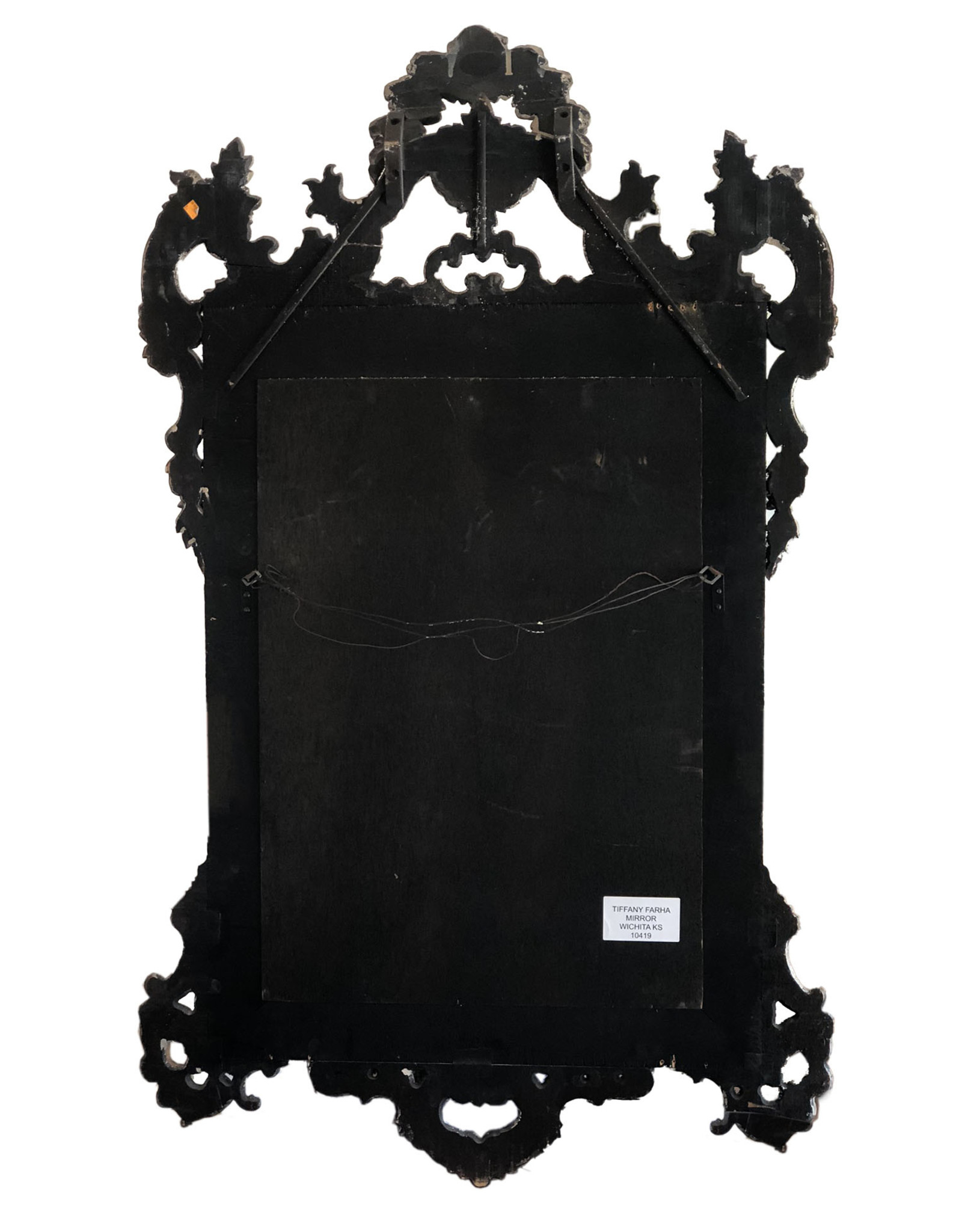 French Antique Silver Gilt and Black Mirrors