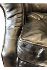 Restoration Hardware Drake Black Leather Wingback Chair