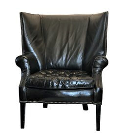 Restoration Hardware Black Leather Wing Chair