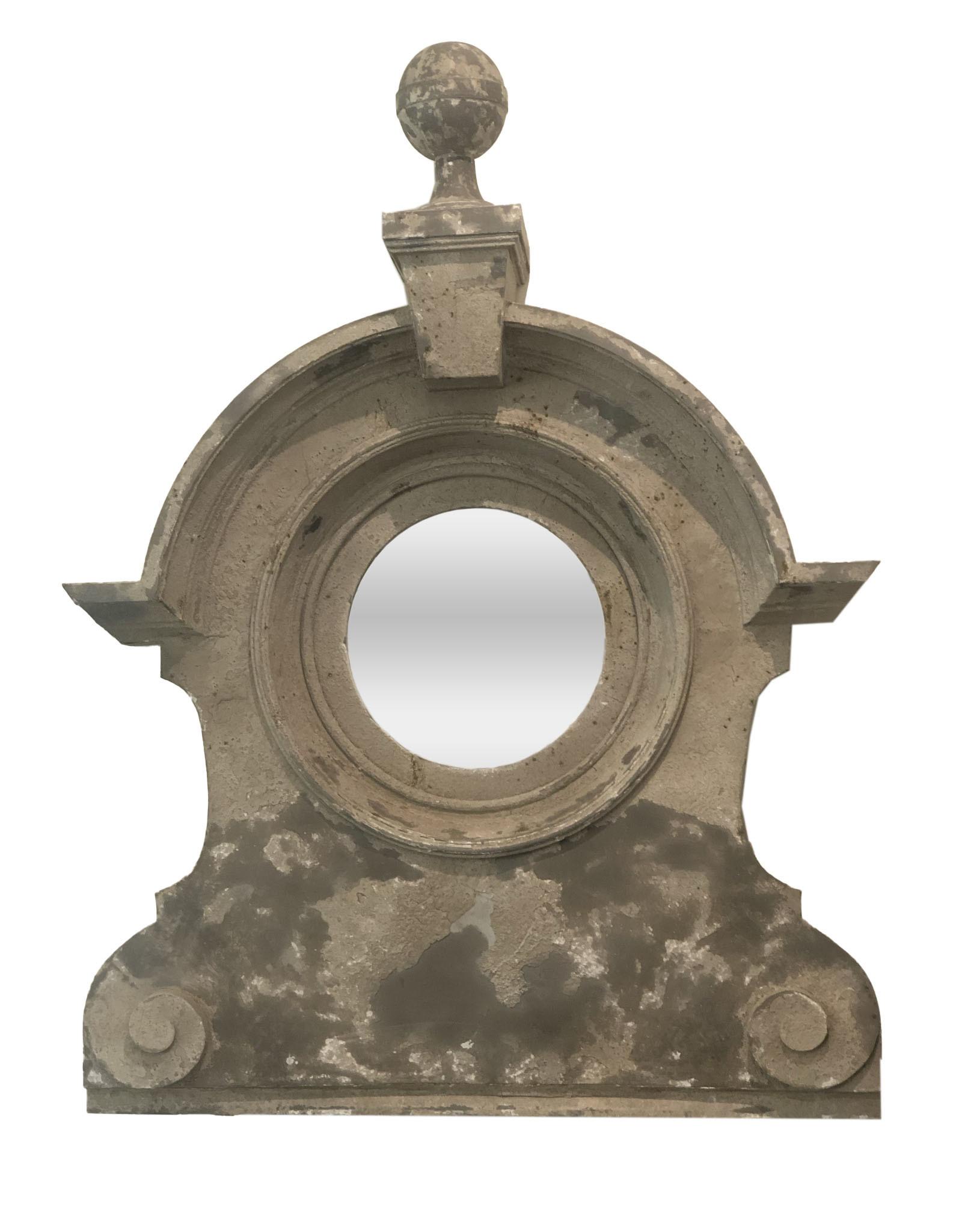 19th Century French Zinc Oeil De Boeuf Mirror