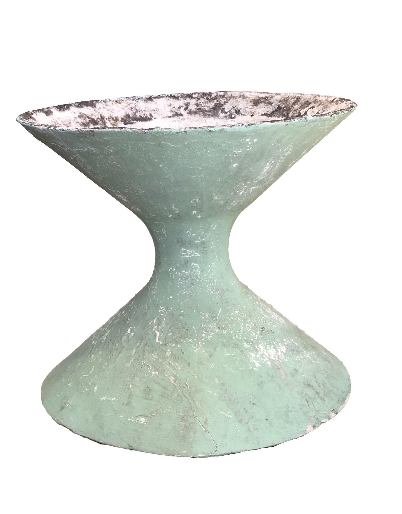 Willy Guhl Sculptural Hourglass Planter in Green