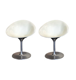 Philippe Starck for Kartell White Eros Swivel Italian Chairs, Set of 2