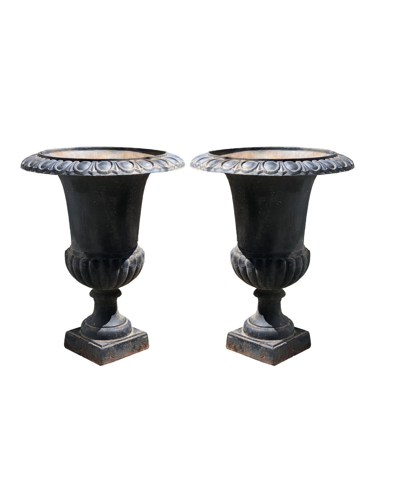 Vintage Black Cast Iron Neoclassical Urn Planters (Pair)