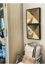 1940s Art Deco Square Black Frame Mirrors - a Pair