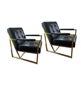 Late 20th Century Brass Lounge Chairs in the Style of Milo Baughman - a Pair