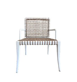 White metal & Woven chairs - set of 8
