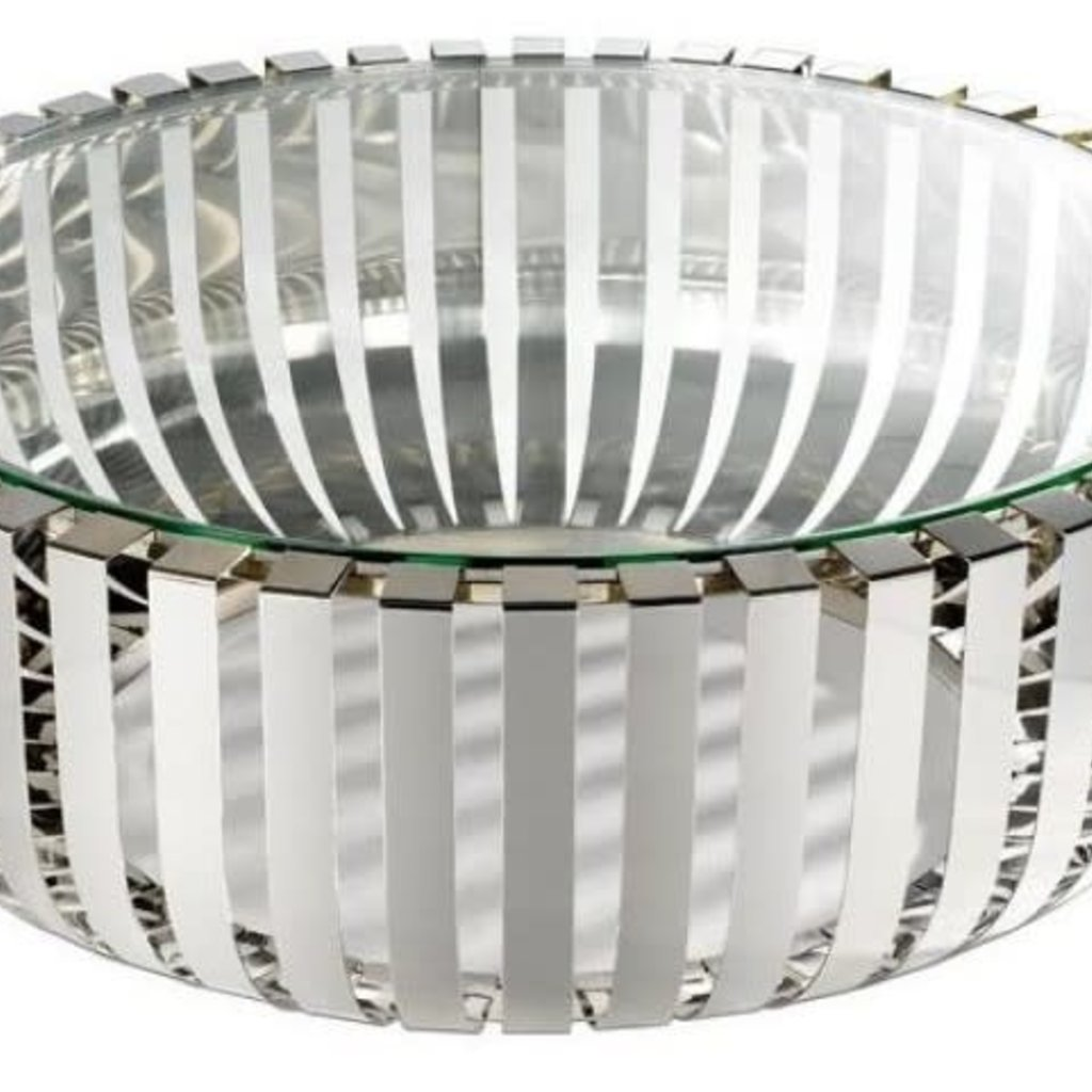 COFFEE TABLE - ROZA CT GLASS/SILVER ROUND - BL