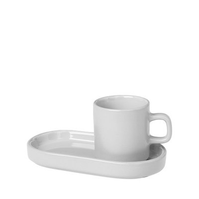 BLOMUS ESPRESSO CUPS WITH TRAYS, SET OF 2 - LIGHT GREY