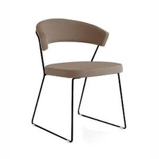CONNUBIA Dining chair - NEW YORK LIGHT BROWN LEATHER - CB