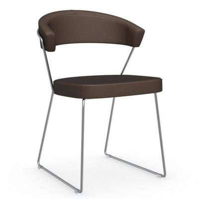 CONNUBIA Dining chair - NEW YORK DARK BROWN LEATHER - CB