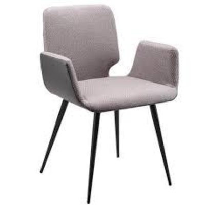 Dining chair - COLTON GREY FABRIC/LEATHER (WITH ARM) - MS