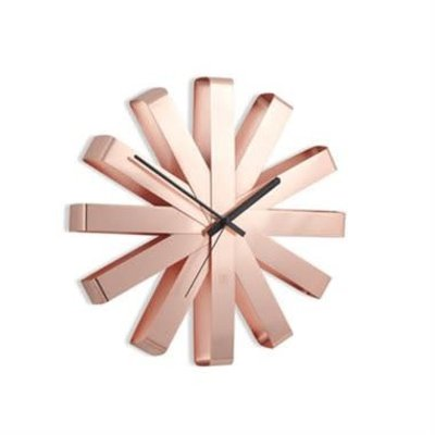 RIBBON WALL CLOCK 12IN COPPER