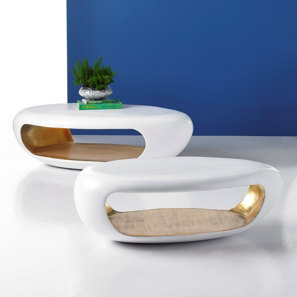 COFFEE TABLE - GROTTO WHITE/GOLD SM - PC