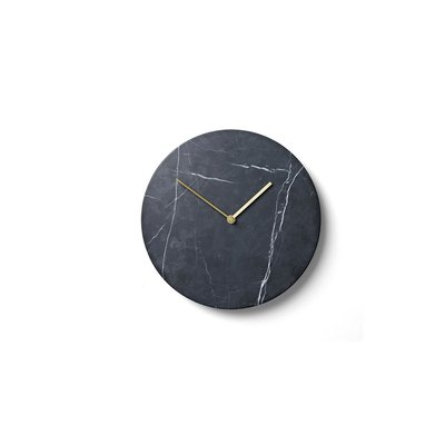 MU - MARBLE WALL CLOCK, BLACK
