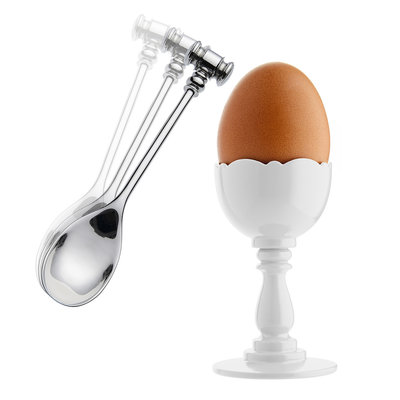 ALESSI AI - Dressed Egg cup & Spoon White