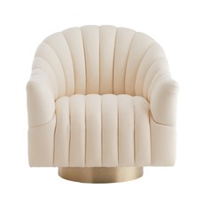 ARTERIORS SPRINGSTEEN CHAIR MUSLIN CHAMPAGNE SWIVEL