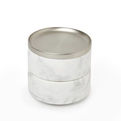 TESORA MARBLE BOX WHITE/NICKEL
