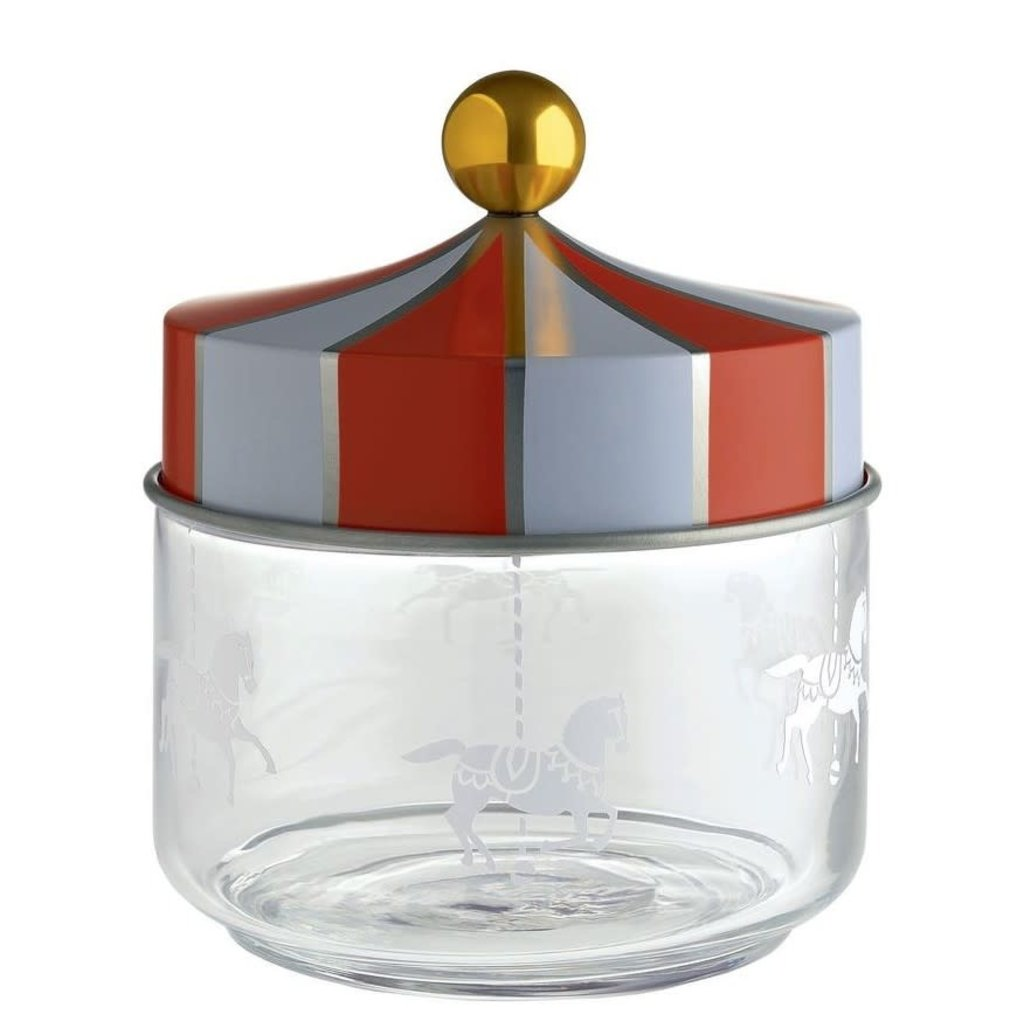 ALESSI AI - CIRCUS 75 JAR IN SILK-SCREEN GLASS