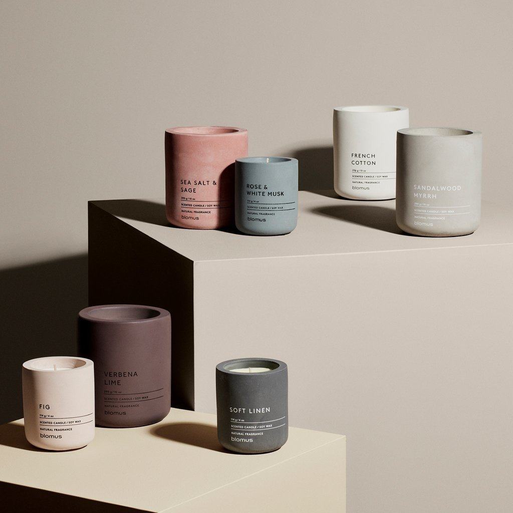 BLOMUS BS - CANDLE WHITE COTTON SCENT SM