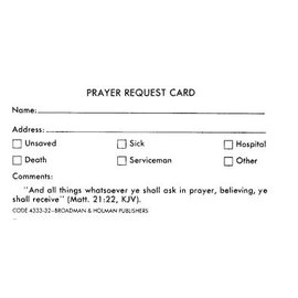 Church Supplies - Prayer Request Card