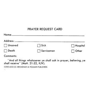 Prayer Request Card