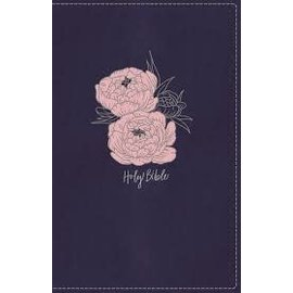 NKJV Large Print Thinline Bible, Navy/Pink Leathersoft