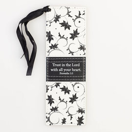 Bookmark - Trust in the Lord, Black/White LuxLeather