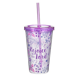 Plastic Tumbler - Rejoice in the Lord, Purple