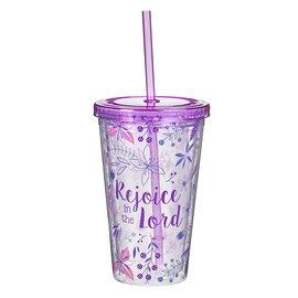 Plastic Tumbler - Rejoice in the Lord, Purple