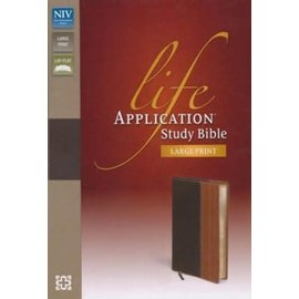 NIV Large Print Life Application Study Bible, Chocolate/Tan Leathersoft, Indexed