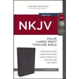 NKJV Large Print Thinline Bible, Charcoal Leathersoft