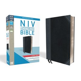 NIV Large Print Thinline Bible, Black/Gray Leathersoft