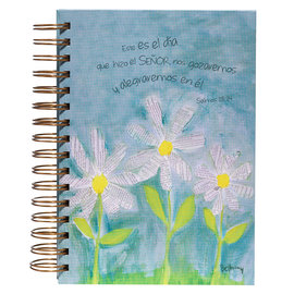 Diario de Espiral Doble - Margaritas Blancas , Sal 118:24 (Spanish Journal - White Daisies, Psalm 118:24)