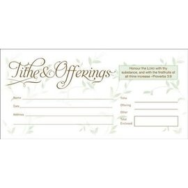 Tithe & Offerings (Proverbs 3:9) 52 Envelopes, Bill size