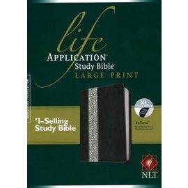 NLT Large Print Life Application Study Bible, Black Floral, Indexed