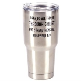 Stainless Steel Tumbler - I Can Do All Things, Silver