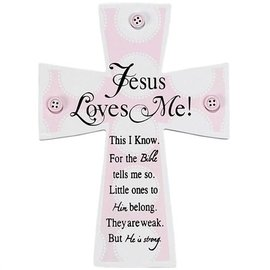 Wall Cross - Jesus Loves Me, with Buttons, Pink