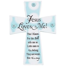Wall Cross - Jesus Loves Me, with Buttons, Blue