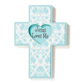 Wall Cross - Jesus Loves Me, Blue (Wood)