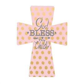 Wall Cross - God Bless this Child, Pink