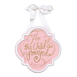 Door Sign - For this Child, Pink