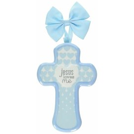 Wall Cross - Jesus Loves Me, Blue